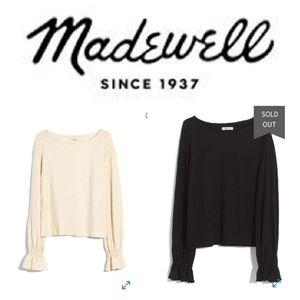 NWT Madewell black textured long sleeve top